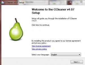 Splash screen for CCleaner